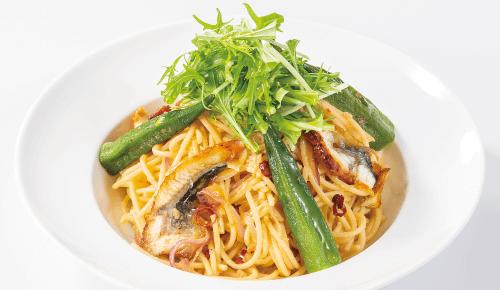うなぎと水菜のペペロンチーノ