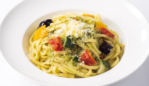 Mediterranean Vegetables Pasta with Basil Cream Sauce