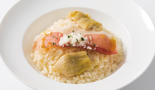 Cream Sauce Risotto with Smoked Ham & Artichoke